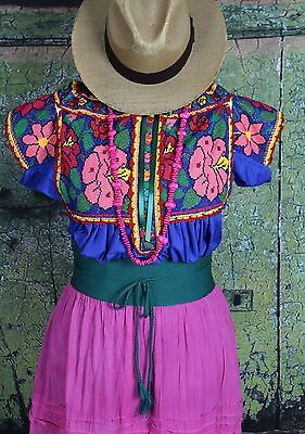 Floral Hand Embroidered Juquila Blouse Oaxaca Mexican Feminine Romantic Fiesta