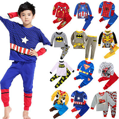 Kids Spiderman Superman Outfit Toddler Baby Boy Summer Pajamas Pjs Sleepwear