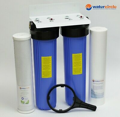 "PREMIUM HIGH QUALITY TWIN Big blue 20"" x 4.5"" whole house / tank water filter"