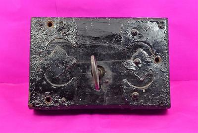 "antique large Gothic Church door lock with key working  8.1/4"" x 5.1/2"" original"