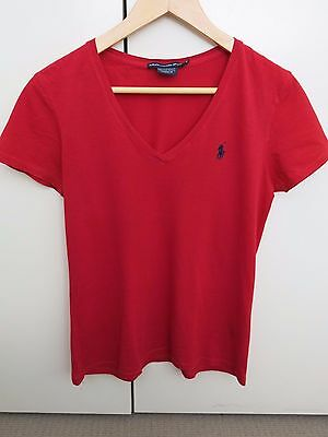 Ralph Lauren 100% Authentic Womens Size M 10 12 V Neck T-Shirt Tee Red