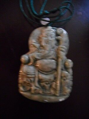 Chinese Carved Green Jade Pendant