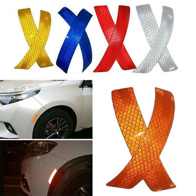 2Pcs Car Bumper Reflective Warning Strip Decal Stickers Auto Supplies 14*2.3CM