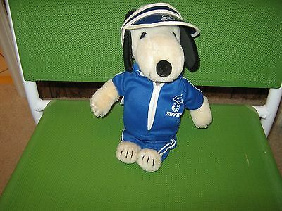 Vintage Peanuts 11 Inch Plush Snoopy In Original Tennis Pro  Outfit..