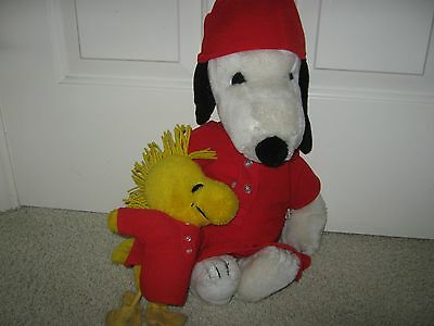 Plush 18 Inch  Snoopy And 10 Inch Woodstock Dressd In Red Night Shirt