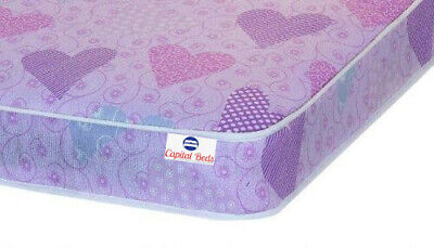 3ft Pink Hearts Spring Mattress Single 90cm by 190cm Bunk, Cabin, Guest, Kids