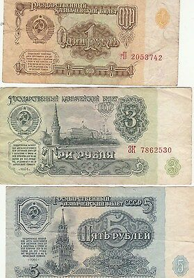 Ussr  Russia   3 Old Banknotes 1961     1, 3 & 5 Rubles