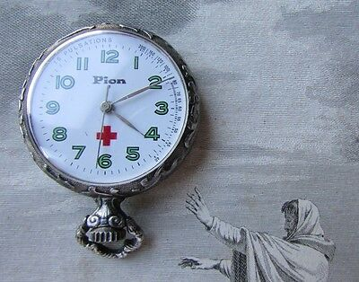 Pretty Engraved Vintage French Wind Up Nurses Fob Watch Exc Working Order