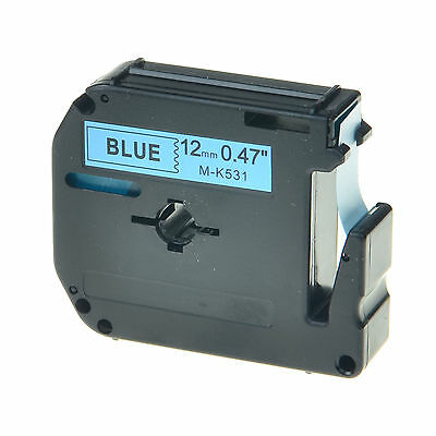 Black on Blue Label For Brother M-K531 M531 MK531 P-touch Tape PT-85 12mm 8m