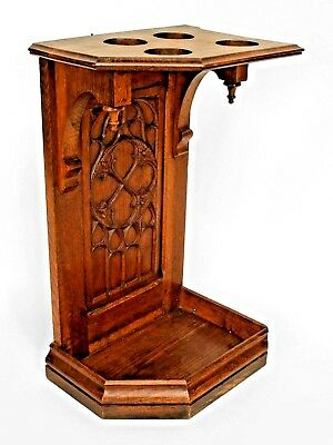 English Gothic Style (19/20th Cent.) Oak Cane/Umbrella (Corner) Stand