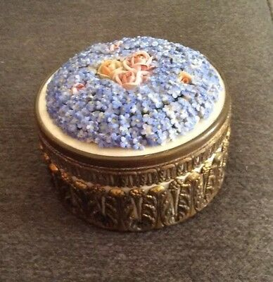 Vintage Ormolu German Trinket Box Von Schierholz? With Forget Me Knots And Roses