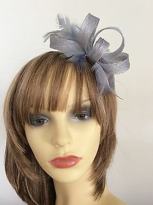 Silver Grey Blue  Fascinator   Hand Made