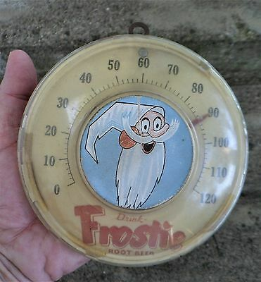 """Old Drink Frostie Root Beer Round 5 1/2"""" Thermometer Early Plastic & Cardboard"""
