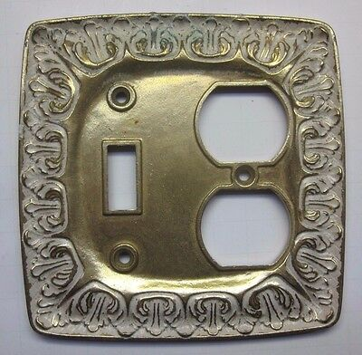 Satin brass plated & white LR28847 BF146 outlet switch plate 2gang combo cover