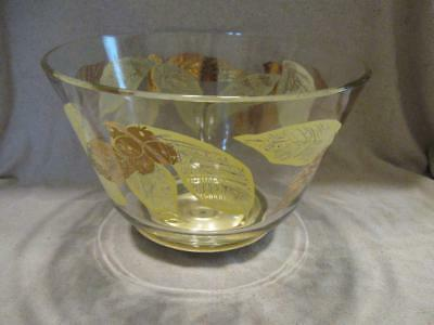 Lovely Antique Vtg Heavy Glass Punch Bowl Gold Leaf Blueberries On Lazy Suzan