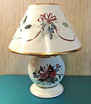 """Lenox Fine Ivory  China """"winter Greetings"""" W/red Cardinal Candle Lamp 10"""" Tall"""