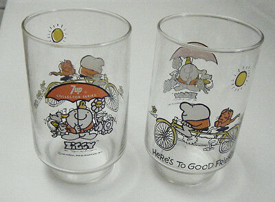Two 1977 7-Up Ziggy Here's To Good Friends Glasses