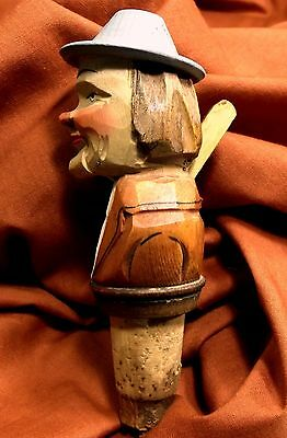 Vintage~ANRI Wood hand Carved and Painted Bottle Liquor Stopper Around