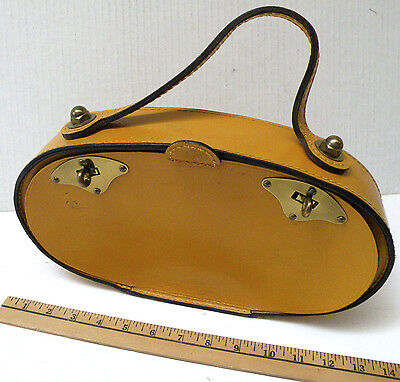 """VINTAGE 1960s GOLD """"MOD"""" PURSE, leather w/metal clasps SIDE-OPENING Mid-century"""