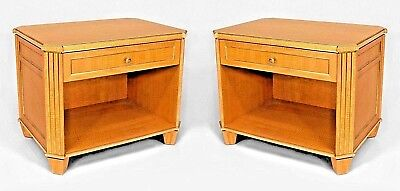 Pair of French Louis XVI Style (Mid 20th Cent.) Sycamore Bedside Commodes