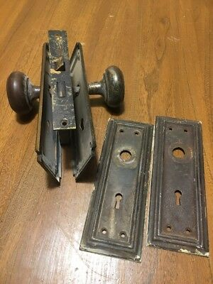 Vintage Sargent? Door Knob Lock Set Brass or Bronze Reclaimed No Skeleton Key