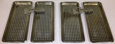 Lot of 4 Tuttnauer Autoclave Stainless Sterilizer Trays with 2 Tray Handles