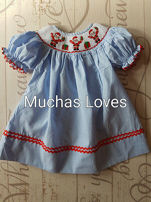 Muchas Loves Hand Smocked Santa Dress 6m to 6y