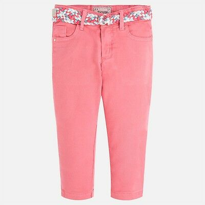Mayoral Girls Cropped Trouser with belt in Geranium (Aged 2 to 8)