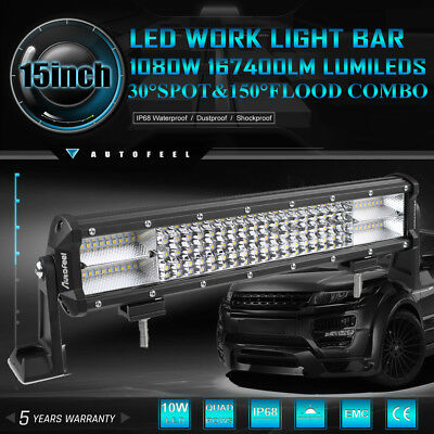 "Quad Row ]15inch 1080W LED Light Bar Spot Flood For Driving Jeep SUV 4WD 17"" 01"