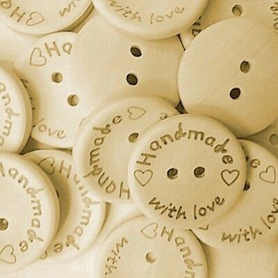 'Handmade With Love' Wood Buttons 15mm 20mm 25mm  - Crafts - Sewing