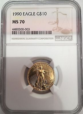 1990 $10 Gold American Eagle Philadelphia Mint NGC MS70. Pop 165. Guide $18200.