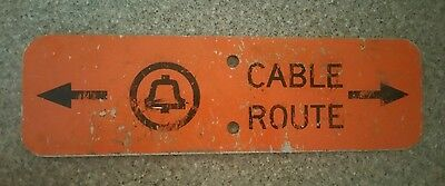 """~Vintage Bell System Telephone 12"""" Bright Orange Cable Route Metal Sign~"""
