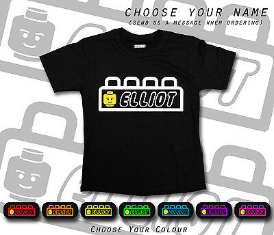 Lego Brick Head Movie Font Any Name Personalised Cool Black T-shirt School Gift