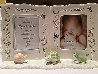 Lenox Porcelain Butterfly Meadow Baby Double Picture Frame Snail Frog Turtle