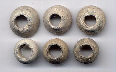 *loracwin* Great Lot 6 Ancient Roman Lead Spindle Whorl, S.i - Ii Ac