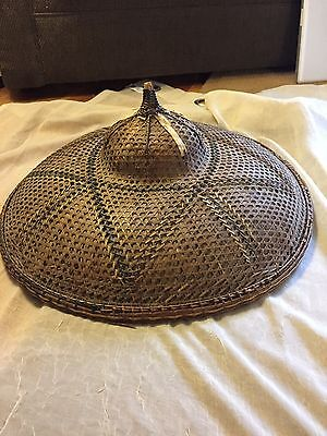 ASIAN CONICAL HAT bamboo straw VINTAGE Chinese Japan COOLIE RICE PADDY FARMER