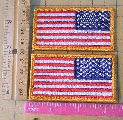 lot of 2 Reverse American Flag VELCROs-h&L Patches U.S. Military Army Air Force