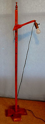 Vtg Primitive Adjustable Arts & Crafts Wood Wooden Floor Lamp