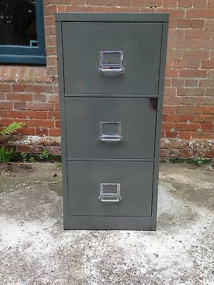 Vintage / industrial 1960s filing cabinet in unusual grey/green colour, 3 drawer