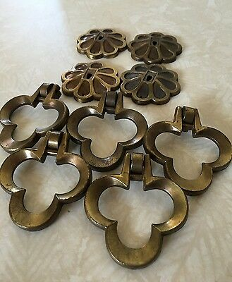 Antique CAST METAL Bronze Art Deco 1930s Floral DRAWER PULL HARDWARE SET Of 4
