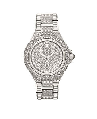 MICHAEL KORS MK5869 Camille Crystal Pave Quartz Stainless Steel Watch Free Ship