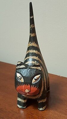 "Hand Painted Carved Wood Black Striped Cat Kitten Figurine Folk Art 5.5"" x 3"""