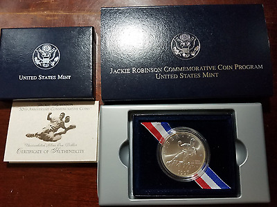 1997 Jackie Robinson uncirculated silver dollar - with box and COA - 90% silver