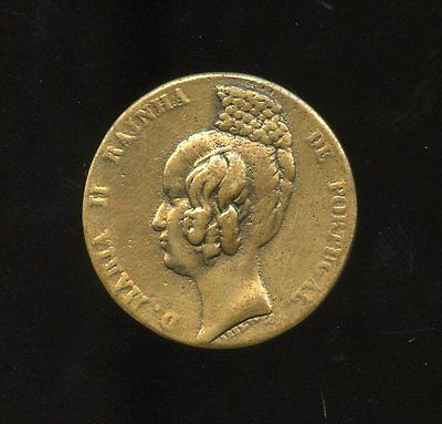 PORTUGAL: 1838: cast brass 35mm medal: MARIA II QUEEN of PORTUGAL