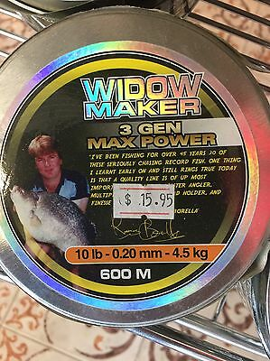 10lb 600m spool Black Widow QUALITY Monofilament Mono Nylon Fishing Line