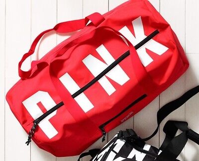 NWT Victorias Secret PINK FRIDAY Neon Coral Red LOGO Travel Duffle Bag BRAND NEW