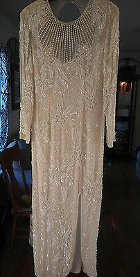 Black Tie Hand Beaded 100% Silk Dress.Size 10