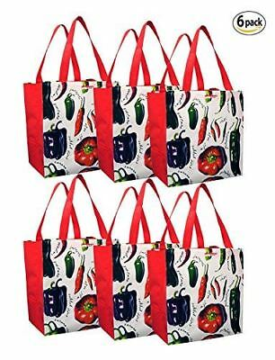 Earthwise Reusable Grocery Bags Shopping Tote Peppers Print Eco Friendly (6 pcs)