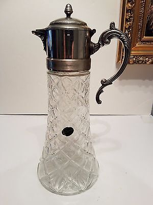 Vintage Godinger Italy Crystal and Silverplate Pitcher w/ Ice Insert