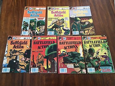 Charlton Group Comics Battlefield Action Lot Of 7 Comics From 1983-84
